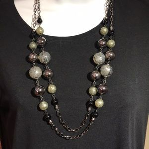 Glass and Metal Beaded Long Necklace